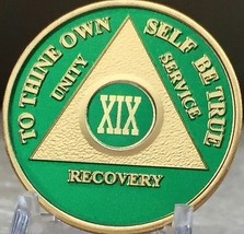 19 Year AA Medallion Green Gold Plated Alcoholics Anonymous Sobriety Chi... - $20.39