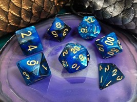 D&D Blue w/ Gold Numbers Acrylic Dice 7 Piece Set + Bag d20 d12 d10 d% d... - $5.95