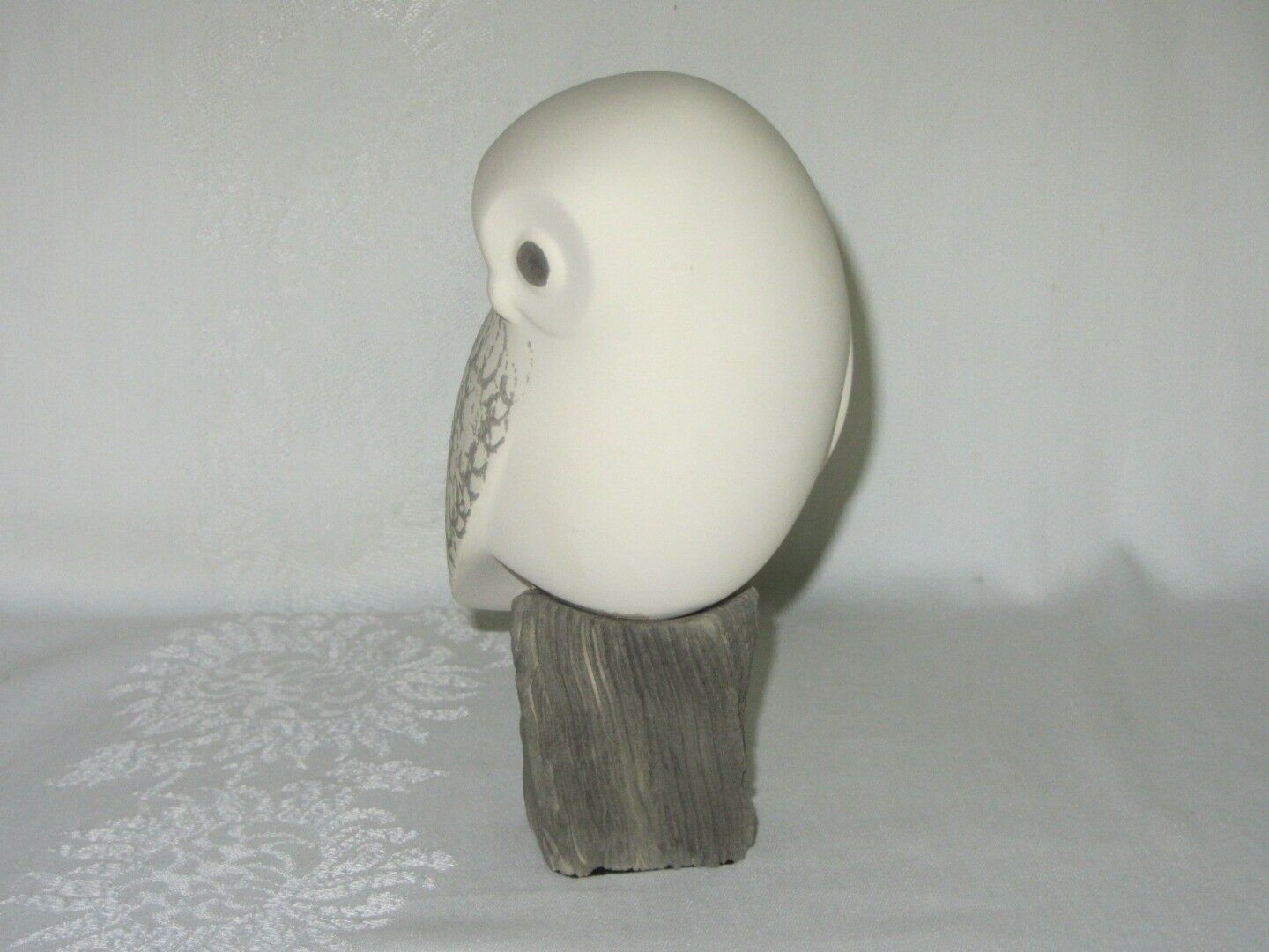 Snowy Owl White Bisque Porcelain Vintage Figurine Mid Century Modern Signed