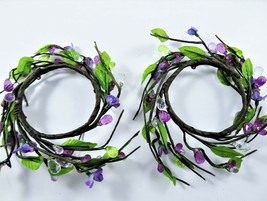 Pair Candle Rings Faceted Acrylic Beads Faux Purple Flowers Green Leaves... - $19.79