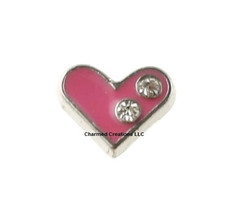 10pc Lot Clear Crystal Pink Heart Love Floating Charm For Memory Locket - $8.90