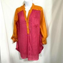 Karlie Pink Orange Bright Blouse Tunic Size Large  - $19.99