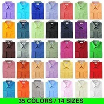 Berlioni Italy Men's Premium Classic French Convertible Cuff Solid Dress Shirt