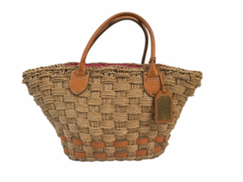 XL Large Woven Ralph Lauren Straw Beach Tote Bag Shopping Shoulder Purse Leather image 1