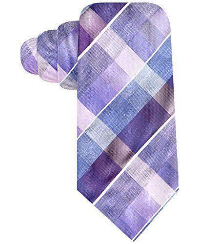 Alfani Colorblocked Grid Plaid Print Skinny Neck Tie Silk iMSRP $49.50