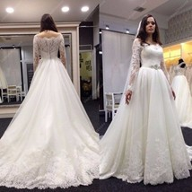 Ivory Off The Shoulder Lace Embellished Wedding Dress With Long Sleeve - $299.00