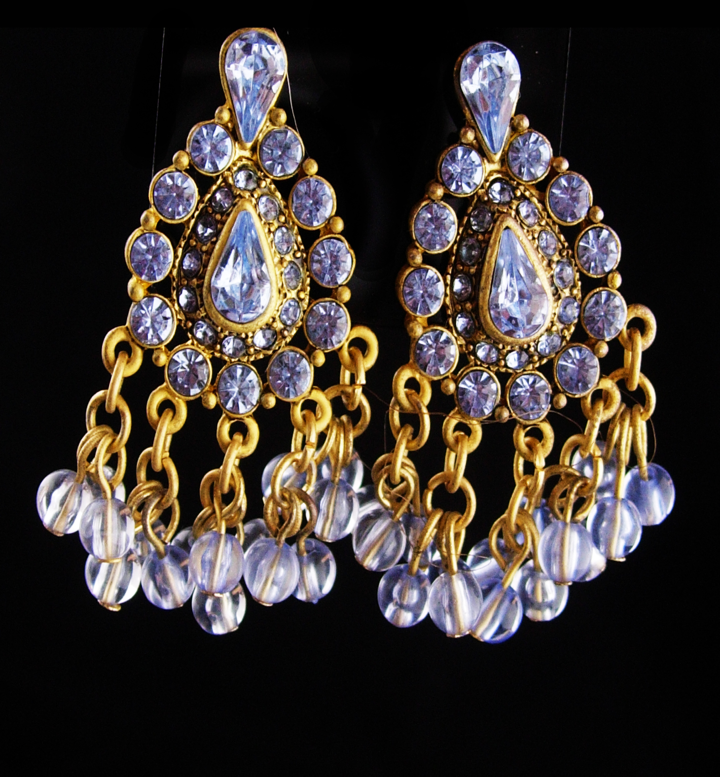 Primary image for Vintage Rhinestone earrings / Clip on chandelier set / Gypsy bohemian earrings /