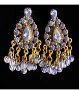 Vintage Rhinestone earrings / Clip on chandelier set / Gypsy bohemian ea... - $65.00