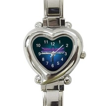 Ladies Heart Italian Charm Bracelet Watch Unique Dragonfly  Gift model 3... - $11.99