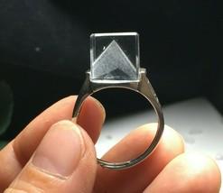 Phantom Clear Crystal Quartz Silver Finger Ring Reiki healing L080539 - $89.05