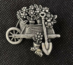 Vintage Gardening Wheel Barrow Flower Brooch Pin By AJC Pewter Tone Metal - $7.87