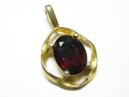 Beautiful Classic Vintage Gold Plated Faux Ruby Lind Signature Drop Pend... - $17.81