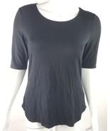 Apt. 9 Petite Medium PM Solid Black Soft Rayon Short Sleeve Blouse NWT - $14.01