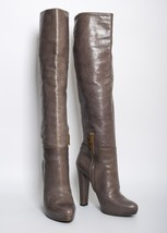 PRADA Gray Leather High Block Heels Boots Knee High Round Toe Platform Size US 8 - $493.90