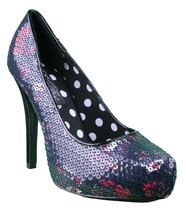 Iron Fist Parting Kiss Pointed Toe Black Sequin Platform Heel Pump Shoes NIB