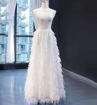 Long Feather Wedding Dress Boho Style Elegant Lace Bridal Dress with Fea... - $1,559.00