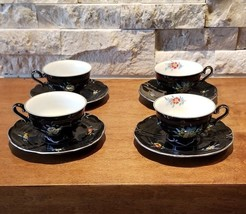 Vintage J L Menau Henneberg Black Demitasse Cup Saucer Set 4 Handpainted... - $93.50