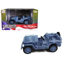 1941 Willys MB Jeep WWII Navy Blue Grey 1/18 Diecast Model Car by Autowo... - $51.45