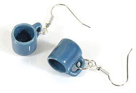 Style ARThouse Time for Coffee, Tiny Porcelain Tea Cup Earrings (Blue) - $29.36