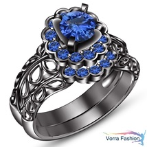 Blue Sapphire 925 Sterling Silver Black Gold Finish Engagement Bridal Ri... - $104.98