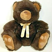 Aurora Teddy Bear Plush w Golden Bow 1989 Brown Stuffed Animal Stitched ... - $39.99