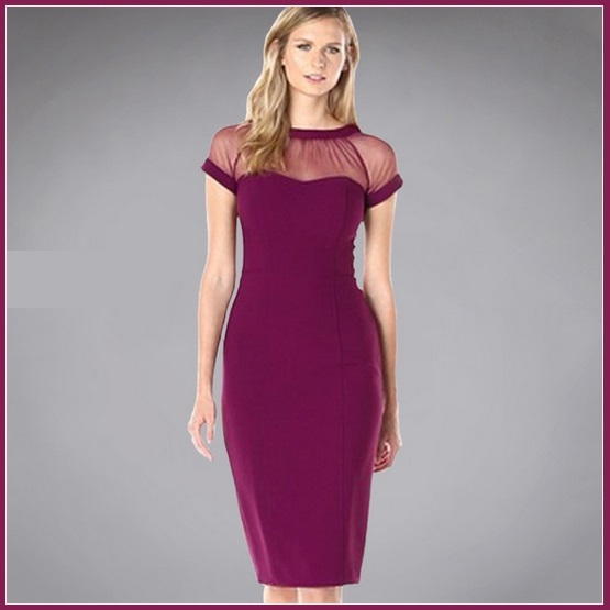 Primary image for Wine Knee Length Sheath Marilyn Style Dress with Transparent Bodice Top