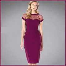 Wine Knee Length Sheath Marilyn Style Dress with Transparent Bodice Top - $58.95
