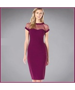 Wine Knee Length Sheath Marilyn Style Dress with Transparent Bodice Top - €54,38 EUR