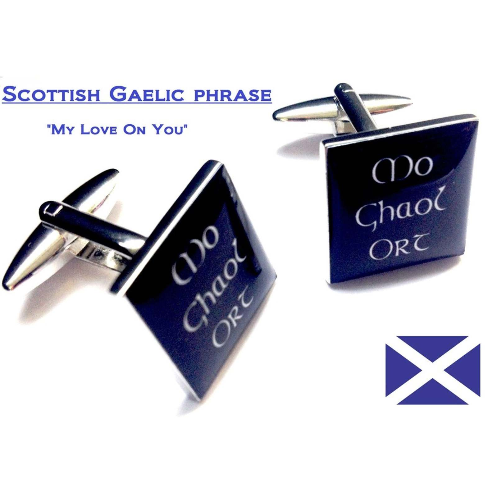 Scots Celtic Cufflinks  Gaelic phrase ,My Love On You,.  in gift box