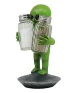 UFO Green Roswell Alien On Flying Saucer Spaceship Salt And Pepper Shake... - $46.17