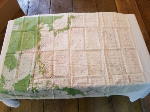 """Rare Vintage 36""""x26"""" Two Sided Western Pacific Cloth Nautical Map Asia China"""