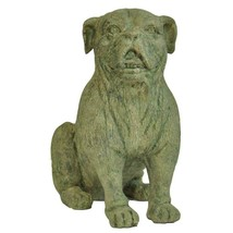 Garden Beautification Tool Fifteen Inches Cast Stone Bulldog Statue In ... - $46.58