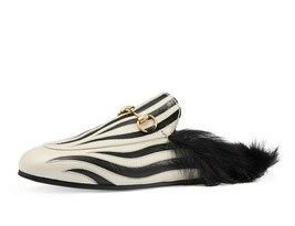 NIB GUCCI Princetown zebra leather fur mules flats IT 37.5/ US 7 - $618.74