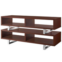"47"" Modern Open Design LED LCD DLP HD Walnut TV Stand Credenza Media - $326.69"