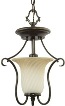 Semi-Flush Mount Lighting 13 in. H 1-Light Dimmable Scrolled Frame Forge... - $76.98