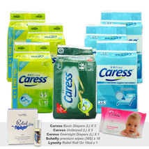 3x Caress Basic & 1 Overnight Adult Diapers + 3x Underpad + 10 Wipes + Lynnity - $138.40