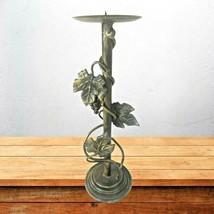 Vintage Metal Patina Pillar GRAPES & VINE Candle Holder Candelabra 16.25... - $38.51