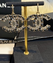 NEW AUTH Chanel 2020 LARGE CC Gold Crystal Black Lambskin Drop Dangle Earrings  image 3