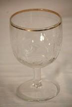 Bartlett Collins White Grape Leaf Thumbprint Glass Goblet Gold Rim Vinta... - $22.76