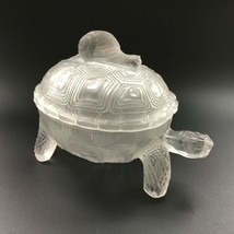 Antique PV Portieux Vallerysthal Frosted Glass Snail on Turtle Covered D... - $95.00