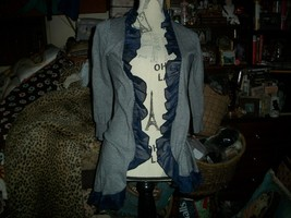 Anthropologie Guinevere Romantic Navy Blue Striped Ruffled Cardigan Size S - $22.77