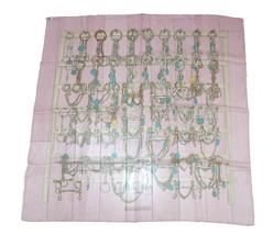 Hermes Sciarpa Mors et Filets 90 CM Chiffon Seta Mousseline Rosa Catena ... - $446.56