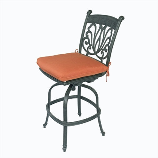 Outdoor armless bar stool cast aluminum patio furniture sunbrella seat cushions