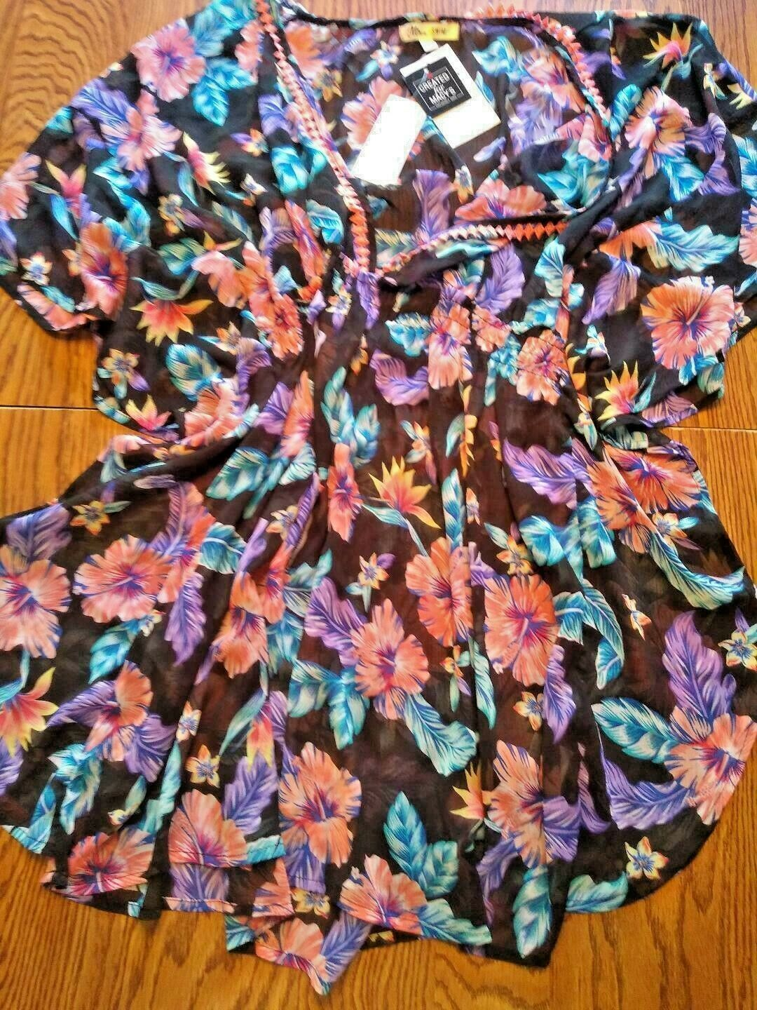 Miken Swim Tropical Yore Beach Cover Up Size Small