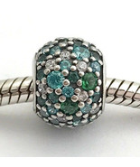 Authentic Pandora Ocean Mosaic Pave Mixed Green Crystal CZ Charm 791261M... - $62.69