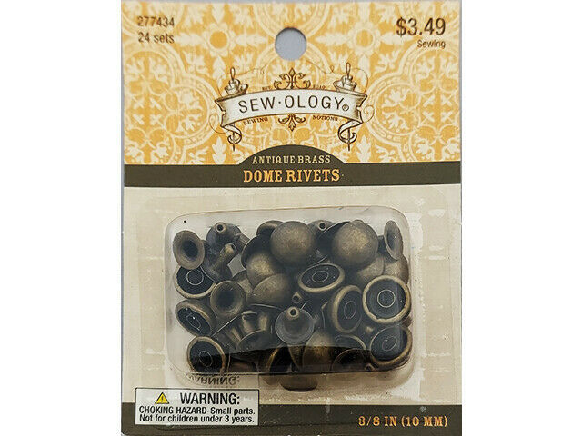 Hobby Lobby Sew-ology Antique Brass Dome Cap Rivets, 24 Sets #277434