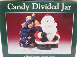 Santa w Toy Bag Figural Candy Jar Divided 2 Compartments Ceramic Christm... - $14.84
