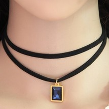 Collier Femme Black Leather Choker Necklace (4), Fashion Round Charm Pen... - $8.89