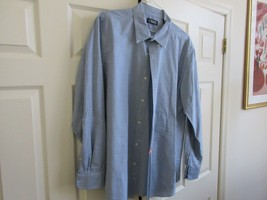 Chaps , Men's Long Sleeve Shirt , XL/TG/EG , 100% Cotton , Blue/White - $25.00