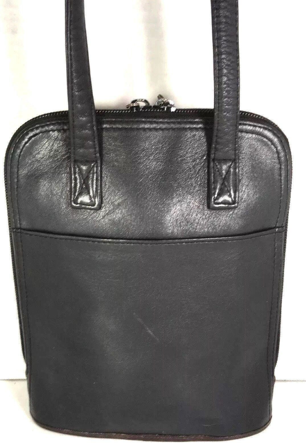 Brighton Vintage Small Black Leather with Brown Reptile Print Trim Shoulder Bag